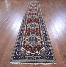 Red And Blue Persian Rug by 3x17 Runner Heriz Serapi Hand Knotted Red Navy Blue Oriental Wool
