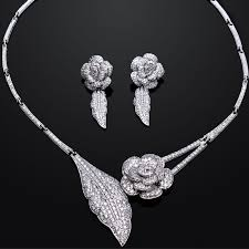 aliexpress necklace set images Romantic rose lover gift wedding bridal jewelry set cubic zirconia jpg