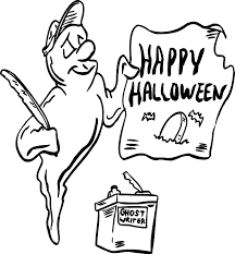 ghost coloring page ghost with happy halloween sign