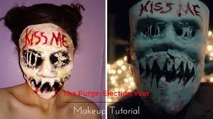 purge mask halloween spirit the purge election year makeup tutorial youtube
