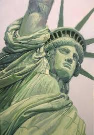 ms bingles vintage christmas statue of liberty painting