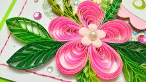 azlina abdul pink pop up flowers and quilling birthday card