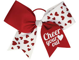 hair bows chassé glitter hearts performance hair bow omni cheer
