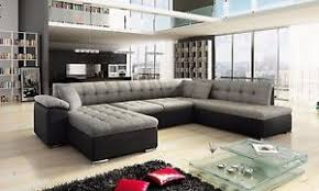 Sofa With Bed New Scafati Fabric And Leather Corner U Shaped Sofa With Bed In