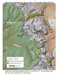 Map Of Yosemite Yosemite Project Maps Sierra Nevada Bighorn Sheep California