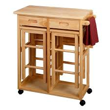 varnished oak wood kitchen serving table with wheels of