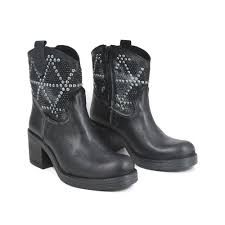 heeled biker boots ankle biker boots with heel studs and strass in genuine leather