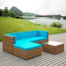 Corner Wooden Sofa Ikayaa 5pcs Rattan Garden Furniture Sofa Set Blue Cushions Corner