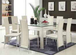modern cream u0026 chrome glass dining table w six chairs
