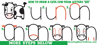 how to draw a cute cartoon kawaii cow easy step by step drawing