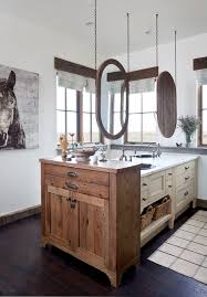 Rustic Farmhouse Bathroom - rustic farmhouse exterior with natural finish barn doors