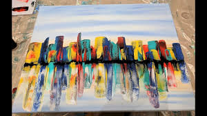 Colorful City Acrylic Pouring Swipe Technique Colorful City Skyline Youtube