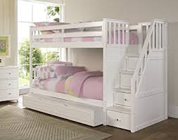Amazoncom NE Kids Barrett Stair Bunk Bed With Trundle White - Ne kids bunk beds