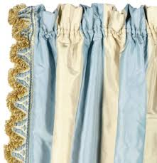 Blue Silk Curtains Three Blue And Cream Striped Silk Curtain Panels Late 20th
