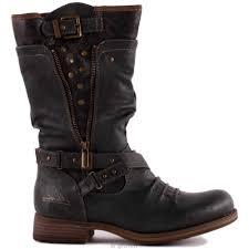 womens biker boots canada mustang 1139 609 20 biker boots in gray leatherette