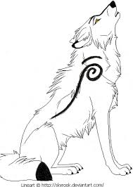 drawn howling wolf side profile pencil and in color drawn
