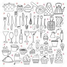 Kitchen Utensils I Love Cooking Kitchen Utensils Collection U2014 Stock Vector
