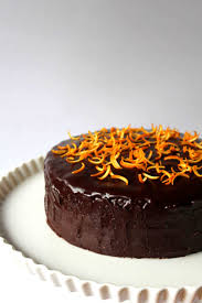 chocolate cake with orange marmalade and chocolate glaze crop