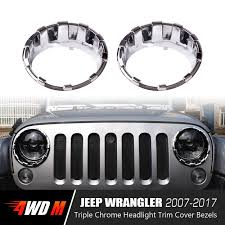 jeep chrome triple chrome headlight bezels for jeep wrangler jk 2007 2017 pair