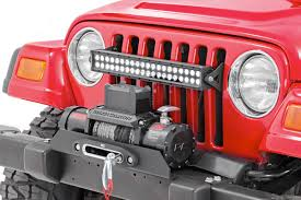 jeep wrangler tj light bar 20in dual row single row led light bar grille mounts for 97 06