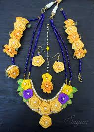 ribbon flower jewelry for haldi function jewels of sayuri