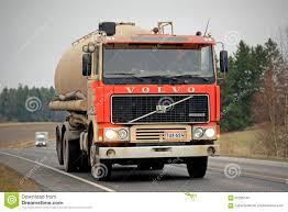 volvo truck series red volvo f12 tank truck on the road editorial stock image image