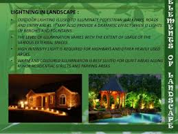 different types of outdoor lighting elements of landscape