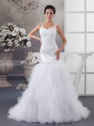 mermaid wedding sheer strapped tulle and satin mermaid wedding gown with fairy skirt