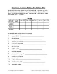 compound names and formulas worksheet three imsa