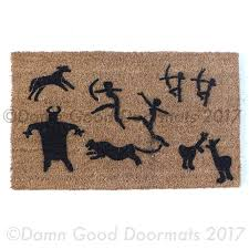 customizable prehistoric cave painting family doormat damn good