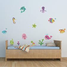 wall decals stickers home decor home furniture diy full colour sea creatures animals wall sticker girls boys bedroom decal mural
