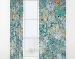 Pastel Coloured Curtains Botanical Print Etsy
