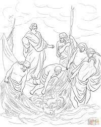 jesus and the miraculous catch of fish coloring page free