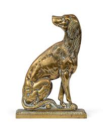 19th century brass dog door stop decorative collective