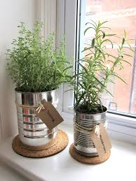 Window Sill Herb Garden recycle cans for window herb garden cute labels organic