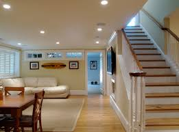 brilliant finished basement flooring ideas with concrete finished