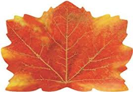 25 count maple leaf shaped paper placemats fall