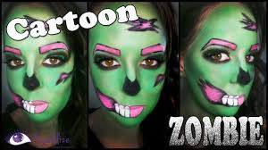 cartoon zombie halloween makeup tutorial by eyedolizemakeup youtube