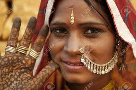 portrait of a india rajasthan woman with her henna tattoo stock