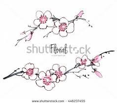 ink watercolor flower line art background stock vector 403362370