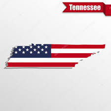 Tennessee State Map by Tennessee State Map With Us Flag Inside And Ribbon U2014 Stock Vector