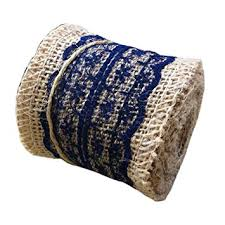 navy blue lace ribbon jute burlap ribbon roll with navy blue lace 2 4 width
