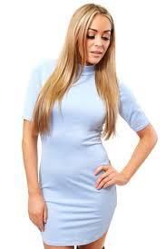 kylie powder blue curved hem body con dress