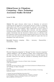 ethical issues in ubiquitous computing u2014three technology assessment