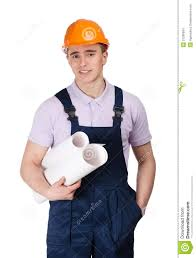 young builder in hard hat with blueprints stock images image
