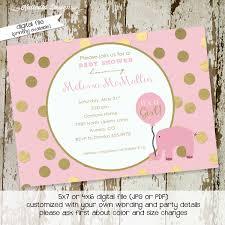 elephant baby shower invitation baptism pink gold foil polka