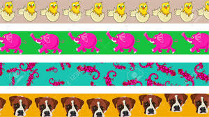 set of four cute and colourful animal page border designs stock