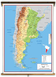South America Physical Map by Argentina Physical Educational Wall Map From Academia Maps