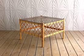 vintage rattan glass coffee table bamboo square 60 u0027s