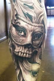 amazing skull designed on leg by josh duffy design of